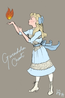 And last but not least, Gwendolen Chant from Diana Wynne Jones' wonderful, wonderful book Charmed Life. Drawn for kicks and giggles when I last reread the Chrestomanci series. (The summer I was at Oxford, actually. I was fancying some pretty Edwardian clothes.)