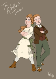 Twins George and Genevieve Arbuthnot, two characters of mine who've been kicking around my head in various stages of maturity for a couple of years now. Here shown as troublemaking teens. George can sense people's feelings, and Genevieve can influence their emotions, and they have a mischievous streak a mile wide.